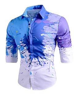 Недорогие Мужская одежда-Для мужчин На выход На каждый день Весна, осень, зима, лето Рубашка Классический воротник,Активный Уличный стиль Геометрический принт С