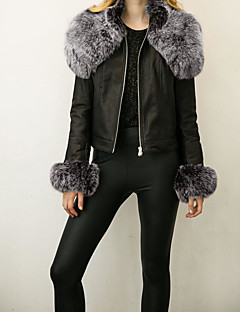 Women's Daily Going out Street chic Winter Fall Leather Jacket,Solid Round Neck Long Sleeves Regular PU Fur Trim