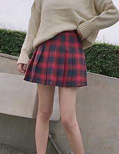 저렴한 -여성 학교 짧은 길이 스커트,나와 모든계절/가을 격자무늬/체크