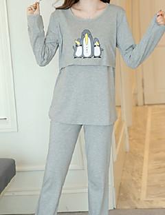 スーツ パジャマ 女性 コットン ポリエステル 動物 ライトグレー ライトブルー