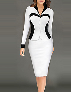 cheap Women's Dresses-Women's Work Bodycon Dress - Color Block, Split High Rise Shirt Collar
