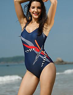 billige Bikinier og damemote-Dame Blå En del Badetøy - Stripet Trykt mønster XXXL 4XL XXXXXL