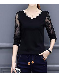 billiga Damöverdelar-Enfärgad T-shirt Dam V-hals Polyester