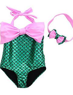 billige Halloweenkostymer-The Little Mermaid Bikini Badetøy Barne Jul Maskerade Festival / høytid Halloween-kostymer Lilla Blå Rosa Fargeblokk Ett Stykke Paljetter