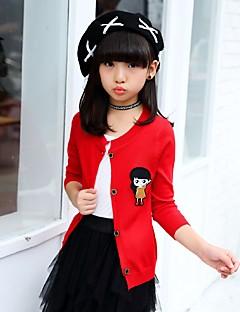 billige Sweaters og cardigans til piger-Pige Trøje og cardigan Ensfarvet, Bomuld Efterår Alle årstider Langærmet Sødt Sort Rød Rosa