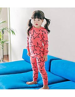 Para Meninas Roupa de Dormir céu Poliéster Manga Longa Desenho Vermelho