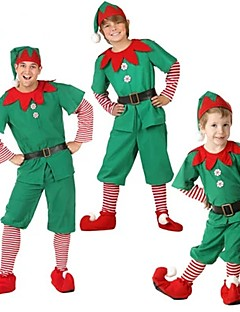 billige julen Kostymer-Alv Bukser / Julkjole Herre Jul Festival / høytid Halloween-kostymer Grønn Fargeblokk