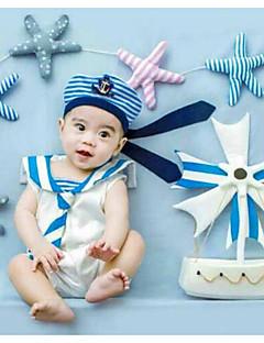 billige Barns Moteklær-Baby Unisex Bursdag Ferie Tøysett Stripet Nylon Vår Sommer Ermeløs Søtt Aktiv Blå