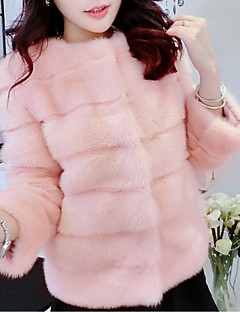 cheap -Women's Casual/Daily Simple Winter Fur Coat,Solid Round Neck ¾ Sleeve Short Faux Fur Fur Trim