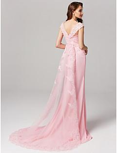 baratos Vestidos de Formatura-Tubinho Decote Princesa Cauda Corte Chiffon / Renda com Miçangas Evento Formal Vestido com Apliques de TS Couture®