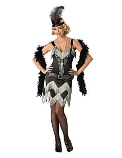 Vintage Gatsby Kostuum Vrouwelijk Gemaskerd Bal Flapper Dress Zwart Vintage Cosplay Polyster Mouwloos Koude schouder Tot de knie