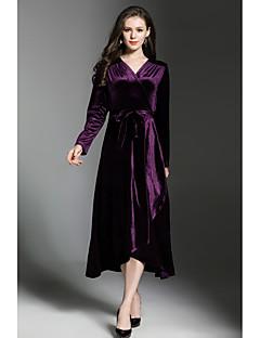 tanie AW 18 Trends-Damskie Praca Vintage Jedwab Linia A / Zmiana / Pochwa Sukienka - Solidne kolory, Rozcięcie W serek Midi