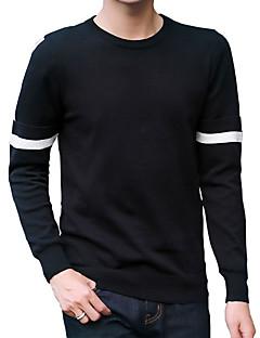 tanie Męskie swetry i swetry rozpinane-Męskie Praca Aktywny Moda miejska Okrągły dekolt Pulower - Nadruk, Jendolity kolor Prążki Długi rękaw