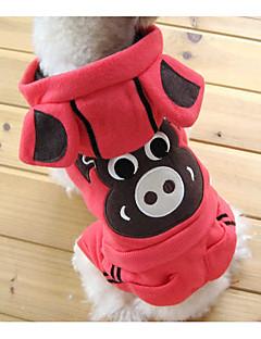 お買い得  犬用ウェア-犬 コスチューム パーカー ジャンプスーツ 犬用ウェア トレンディー かわいいスタイル クリスマス プリント 縞柄 動物 グリーン ピンク ホワイト-ブラック ブラック カーキ色 コスチューム ペット用