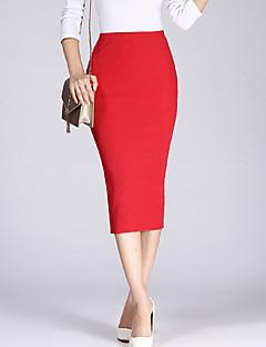 Χαμηλού Κόστους Κάτω Από $9.99-Γυναικεία Εφαρμοστό Φούστες - Μονόχρωμο Σκίσιμο Ψηλή Μέση