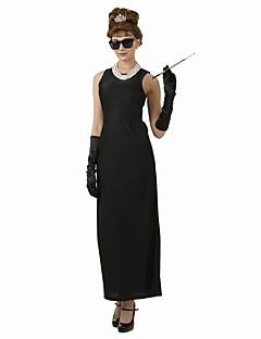 Audrey Hepburn Vintage Elegant Kostuum Vrouwelijk Flapper Dress Feestkostuum Zwart Vintage Cosplay Katoen Korte mouw Kap Tot de enkel