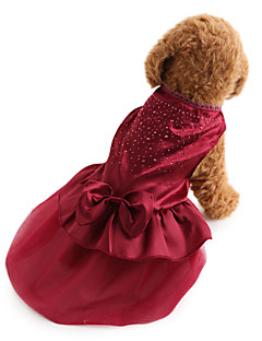 Dog Dress Dog Clothes Holiday Wedding Fashion Solid Sequins Red Blue Costume For Pets