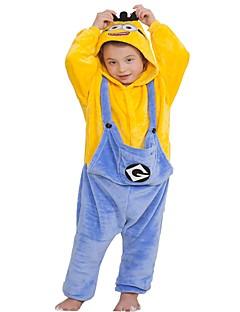 billige Kigurumi-Kigurumi-pysjamas Anime Onesie-pysjamas Kostume Flannelstoff Gul Cosplay Til Barne Pysjamas med dyremotiv Tegnefilm Halloween Festival /