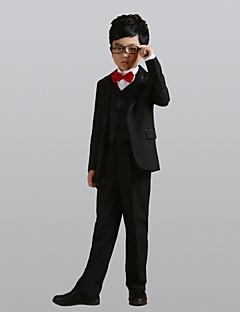 tanie Garnitury dla małych dróżbów-Black Poliester Garnitur dla małego drużby - 6 Zawiera Marynarka Pas Kamizelka Koszula Spodnie Muszka