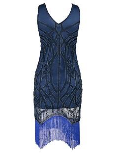 Vintage Gatsby Kostuum Vrouwelijk Feestkostuum Flapper Dress blauw Vintage Cosplay Mouwloos Koude schouder Tot de knie