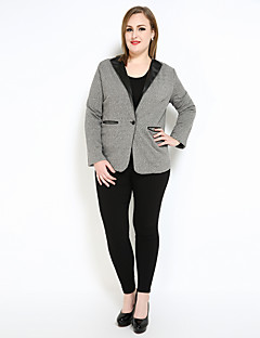 cheap Women's Outerwear-Cute Ann Women's Vintage Casual Street chic Plus Size Faux Leather Blazer-Color Block
