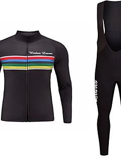 billiga Cykling-Wisdom Leaves Långärmad Cykeltröja med Haklapp-tights - Svart Svart/röd Mörk Marin Cykel Tröja Klädesset