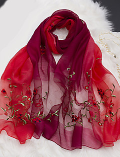 cheap Fashion Scarves-Women's Silk Wool Rectangle - Solid Colored Flower Embroidered