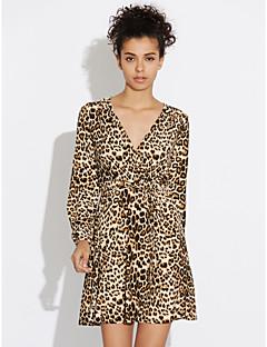Χαμηλού Κόστους Long Sleeve Dresses-Γυναικεία Εφαρμοστό Θήκη Φόρεμα - Λεοπάρ, Πλισέ Μίνι Ψηλοκάβαλο Βαθύ V
