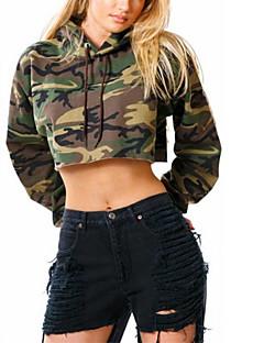tanie Damskie bluzy z kapturem-Damskie Moda miejska Spodnie - Kamuflaż Zieleń wojskowa / Jesień / Zima / Sportowy look / Seksowny
