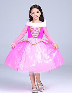 billige Halloweenkostymer-Prinsesse Eventyr Aurora Kjoler Barne Jul Maskerade Bursdag Festival / høytid Halloween-kostymer Rosa Fargeblokk Ballkjole Sko Mesh