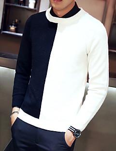 baratos Suéteres & Cardigans Masculinos-Homens Manga Longa Pulôver - Estampa Colorida