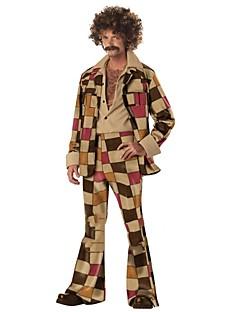 Vintage Hippie Jaren '70 Kostuum Mannelijk Broeken Bruin Vintage Cosplay Lange mouw Klok Slip