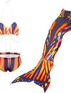billige Badetøj til piger-Pige Trykt mønster Tegneserie Badetøj, Nylon Orange Lyserød Navyblå Lilla Gul