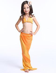 billige Barnekostymer-The Little Mermaid Skjørt Barne Halloween Festival / høytid Halloween-kostymer Gul Regnbue Havfrue Halloween