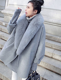 cheap -Women's Daily Vintage Winter Fall Fur Coat,Solid V Neck Long Sleeve Regular Faux Fur Polyester Snakeskin Oversized