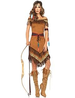 Vintage Zigeuner Kostuum Vrouwelijk Outfits Bruin Vintage Cosplay Chinlon Nylon Korte mouw Kap Mid Dij