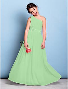 tanie Sukienki dla dziewczynek z kwiatami-Krój A Na jedno ramię Sięgająca podłoża Szyfon Sukienka dla młodszej druhny z Koraliki / Szafra / Wstążka / Drapowania boczna przez LAN TING BRIDE® / Natutalne