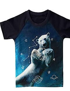 billige Barns Moteklær-Jente T-skjorte Leopard Ull Vinter Kort Erme Søtt Blå Grønn Mørkegrå