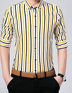 お買い得  メンズシャツ-男性用 週末 - プリント シャツ, ビジネス アジアン・エスニック スリム コットン