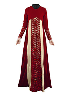 baratos Costumes étnicas e Cultural-Vestido árabe Abaya Vestido Kaftan Jalabiya Mulheres Estilo Étnico Vestidos e Saias De Renda Festival / Celebração Roupa Roxo / Vermelho / Verde Estampa Colorida