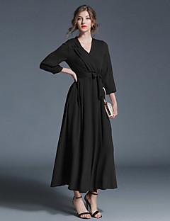Damen Hülle Swing Kleid-Alltag Ausgehen Freizeit Street Schick Solide V-Ausschnitt Maxi 3/4 Ärmel Baumwolle Polyester Winter Herbst Hohe