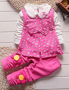 billige Tøjsæt til piger-Pige Tøjsæt Daglig I-byen-tøj Blomstret Tegneserie, Bomuld Alle årstider Langærmet Sødt Afslappet Aktiv Grøn Lyserød Lilla Rosa