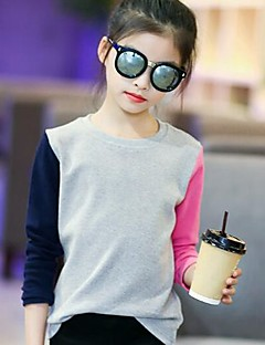 cheap Girls' Tops-Girls' Color Block Tee,Cotton Spring Fall Simple Gray