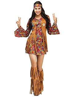 Vintage Hippie Jaren '70 Kostuum Dames Feestkostuum Koffie Vintage Cosplay Lange mouw Klok Kort / Mini