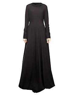 baratos Costumes étnicas e Cultural-Jalabiya Abaya Vestido árabe Mulheres Festival / Celebração Trajes da Noite das Bruxas Preto Azul fúcsia Sólido Estampa Colorida Estilo