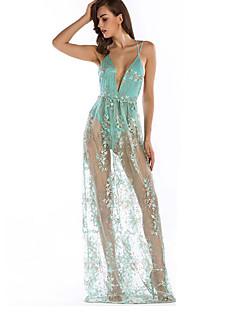 tanie SS 18 Trends-Damskie Koronkowe Sukienka - Jendolity kolor Ramiączka Wysoka Talia Maxi