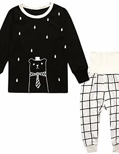 Tyttöjen Piirretty Uniasut Polyesteri Pitkähihainen Cartoon Valkoinen Musta