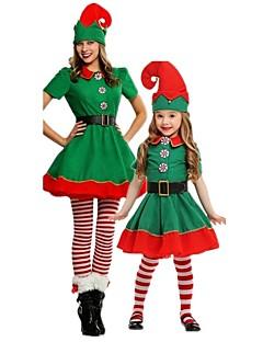 billige julen Kostymer-Alv Julkjole Sokker og Strømpebukser Dame Jul Festival / høytid Halloween-kostymer Grønn Fargeblokk