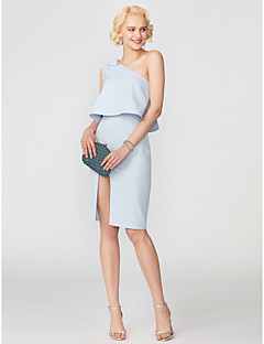 cheap Special Occasion Dresses-Sheath / Column One Shoulder Short / Mini Satin Cocktail Party Dress with Bow(s) Pleats by TS Couture®
