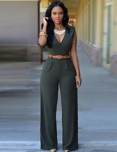 tanie Kombinezony damskie-Damskie Moda miejska Bawełna Kombinezon - Jendolity kolor Spodnie szerokie nogawki